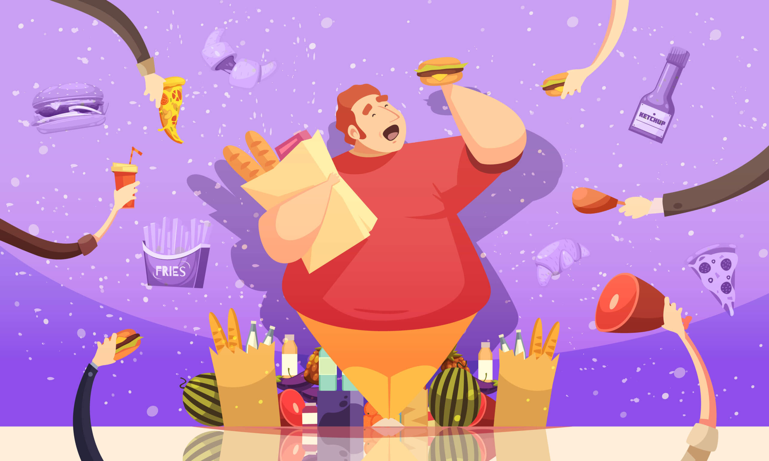 Gluttony leading to obesity cartoon poster with fat man holding hamburger and package of baked goods vector illustration